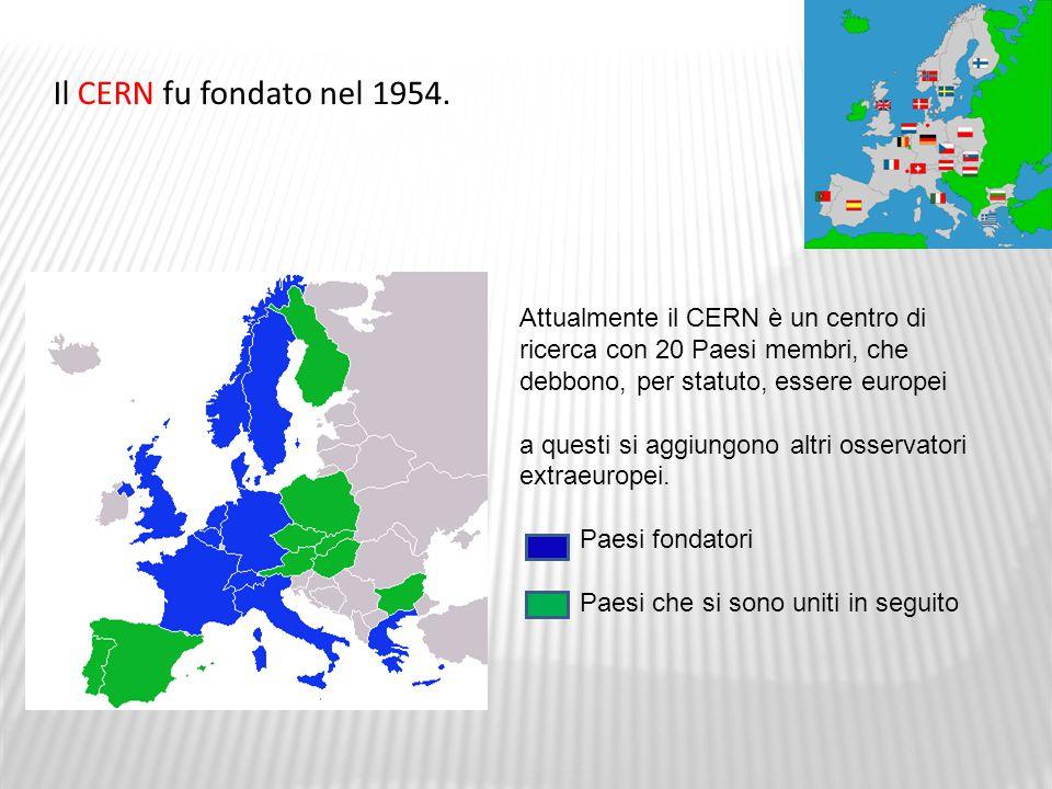 Il CERN fu fondato nel 1954. Attualmente il CERN è un centro di ricerca con 20 Paesi membri, che debbono, per statuto, essere europei.