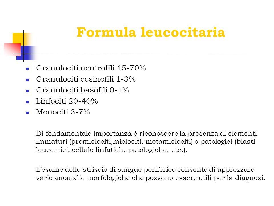 Formula leucocitaria Granulociti neutrofili 45-70%