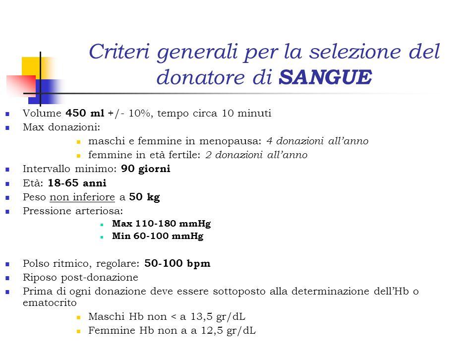 Criteri generali per la selezione del donatore di SANGUE