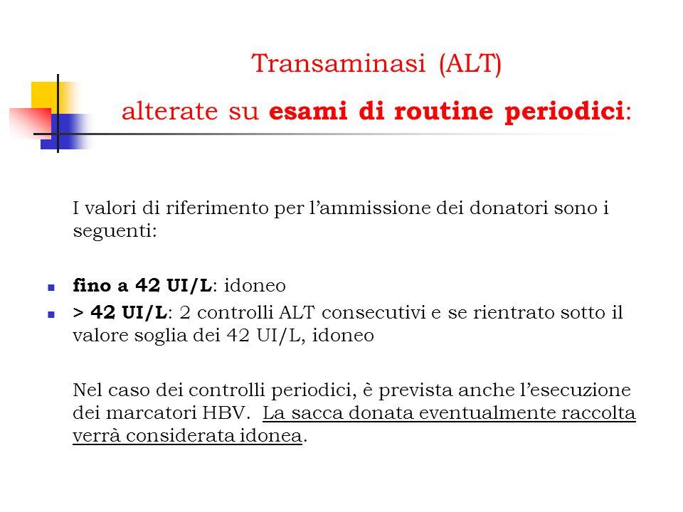 Transaminasi (ALT) alterate su esami di routine periodici: