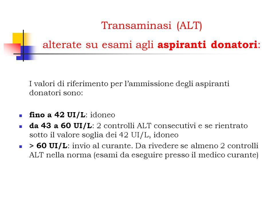 Transaminasi (ALT) alterate su esami agli aspiranti donatori: