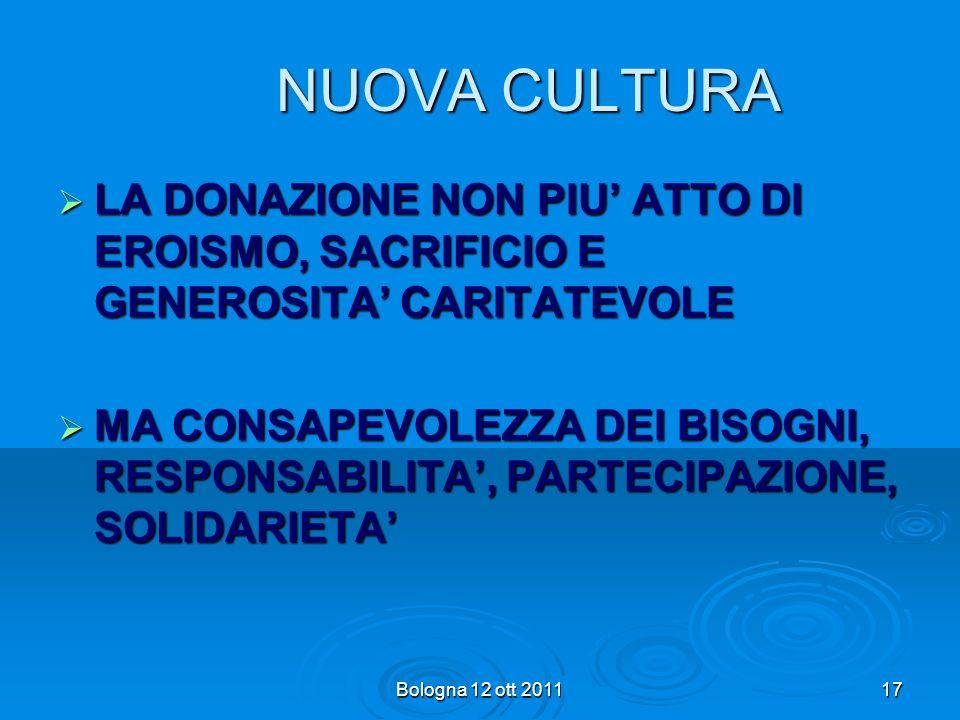 NUOVA CULTURA LA DONAZIONE NON PIU' ATTO DI EROISMO, SACRIFICIO E GENEROSITA' CARITATEVOLE.