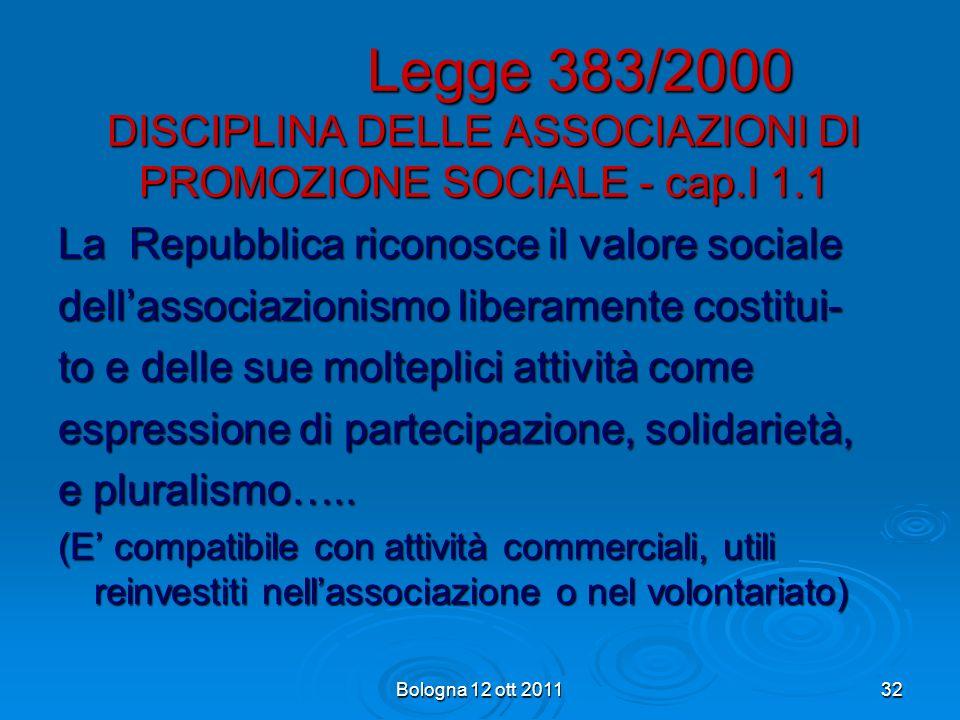 Legge 383/2000 DISCIPLINA DELLE ASSOCIAZIONI DI PROMOZIONE SOCIALE - cap.I 1.1