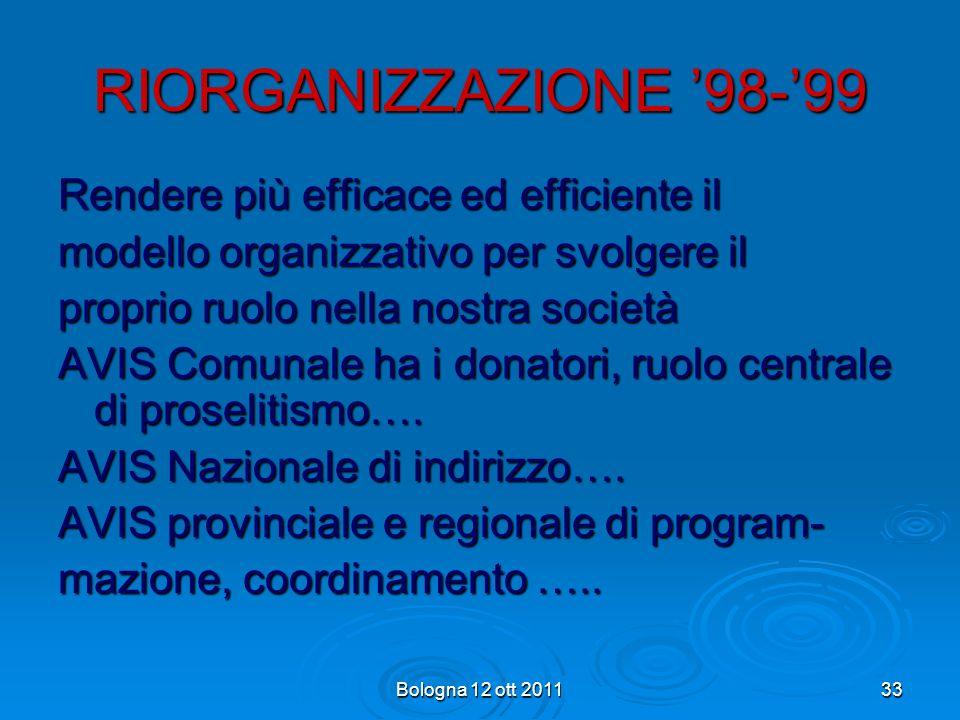 RIORGANIZZAZIONE '98-'99 Rendere più efficace ed efficiente il