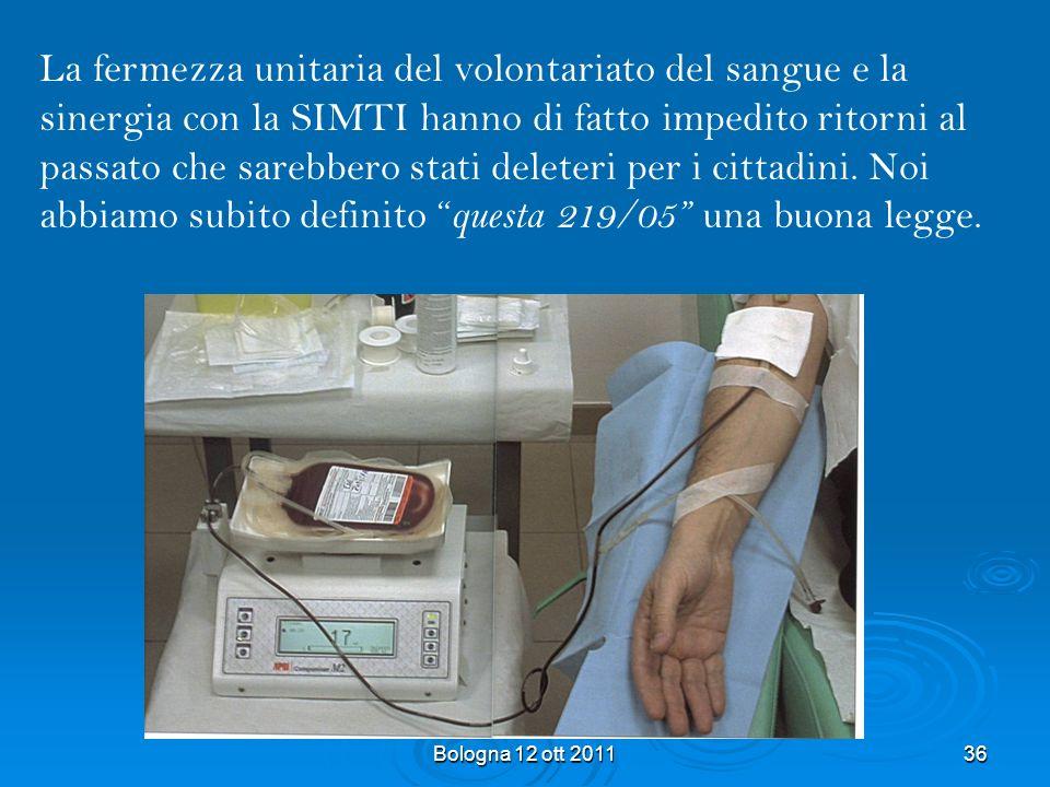 La fermezza unitaria del volontariato del sangue e la sinergia con la SIMTI hanno di fatto impedito ritorni al passato che sarebbero stati deleteri per i cittadini. Noi abbiamo subito definito questa 219/05 una buona legge.