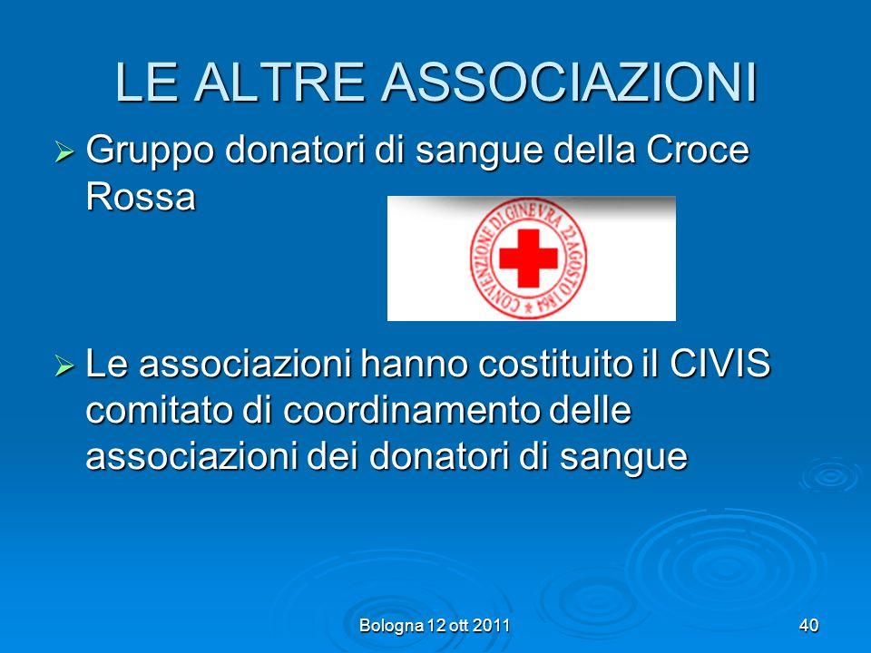 LE ALTRE ASSOCIAZIONI Gruppo donatori di sangue della Croce Rossa