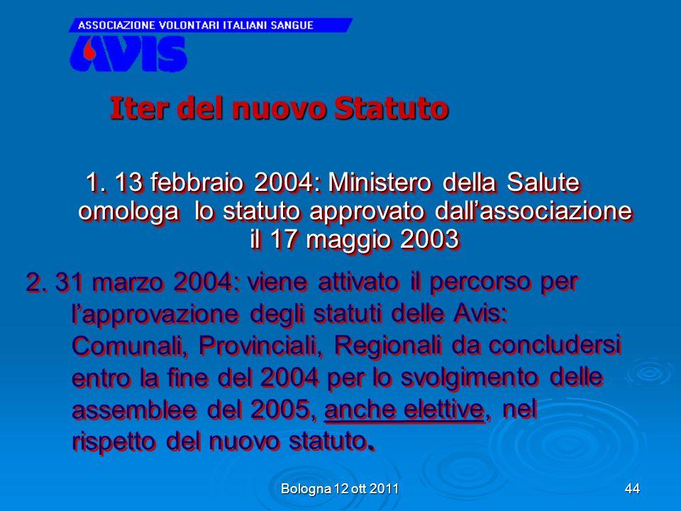 Iter del nuovo Statuto 1. 13 febbraio 2004: Ministero della Salute omologa lo statuto approvato dall'associazione il 17 maggio 2003.