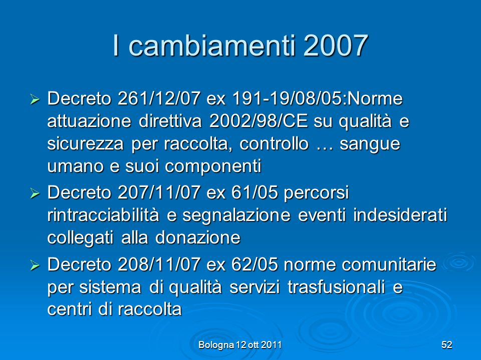 I cambiamenti 2007