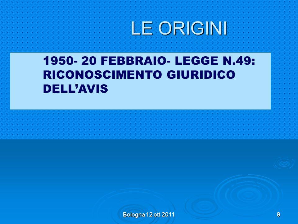 LE ORIGINI 1950- 20 FEBBRAIO- LEGGE N.49: RICONOSCIMENTO GIURIDICO DELL'AVIS Bologna 12 ott 2011