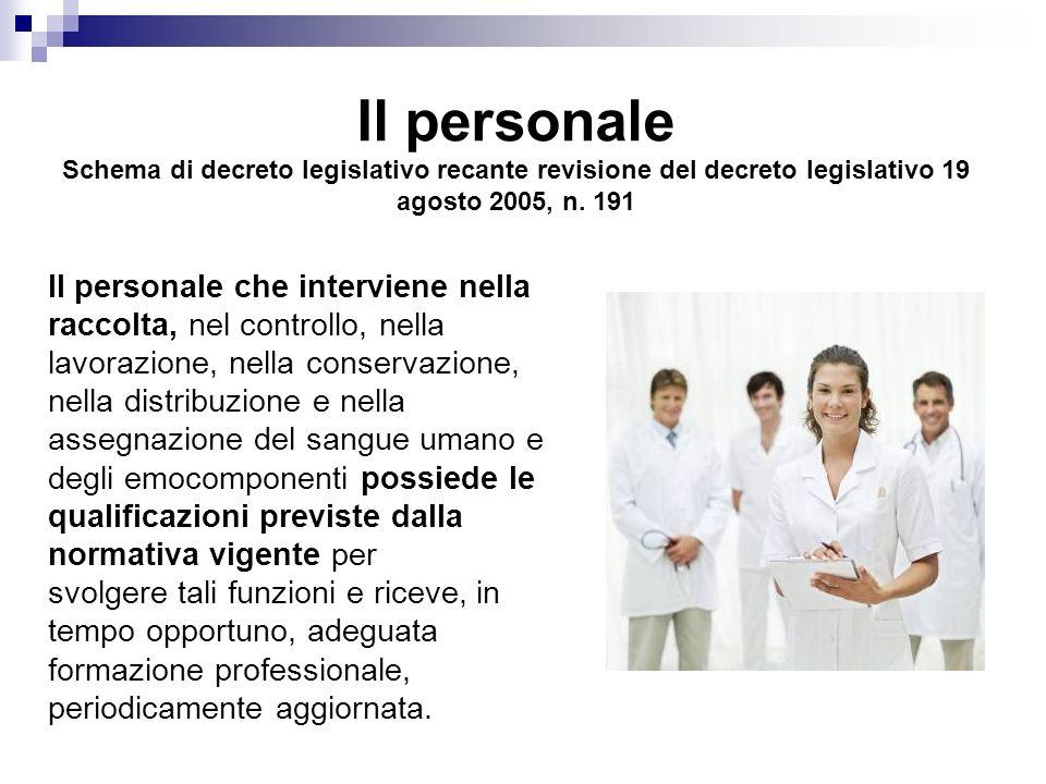 Il personale Schema di decreto legislativo recante revisione del decreto legislativo 19 agosto 2005, n. 191
