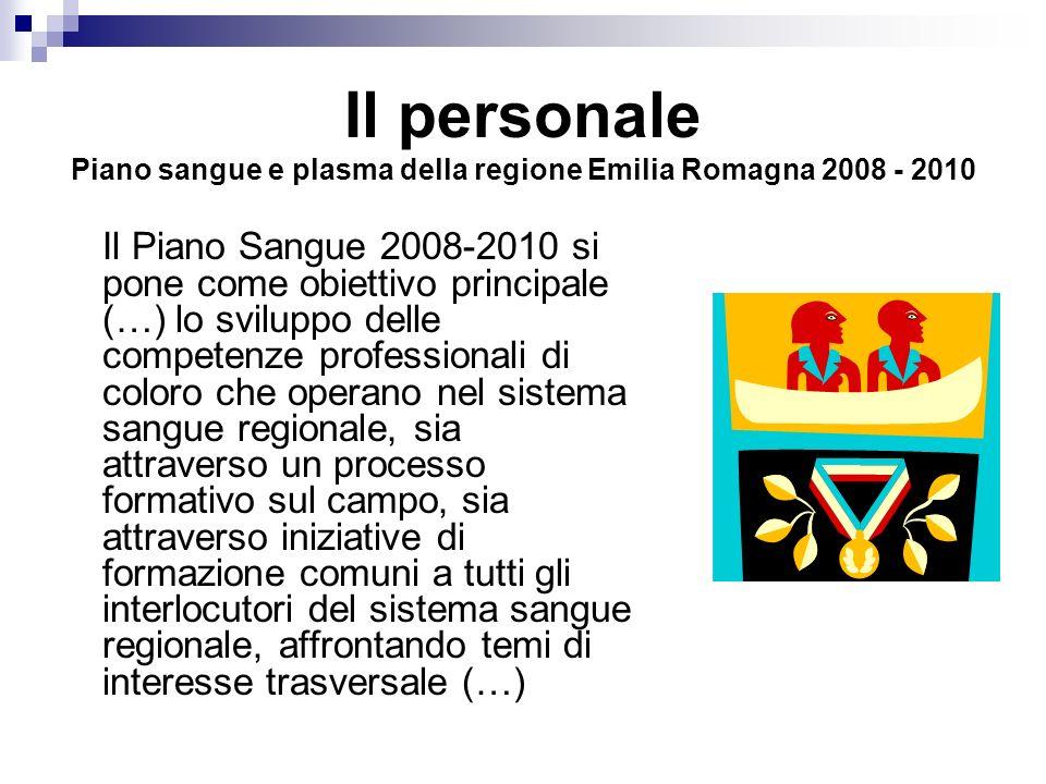 Il personale Piano sangue e plasma della regione Emilia Romagna 2008 - 2010