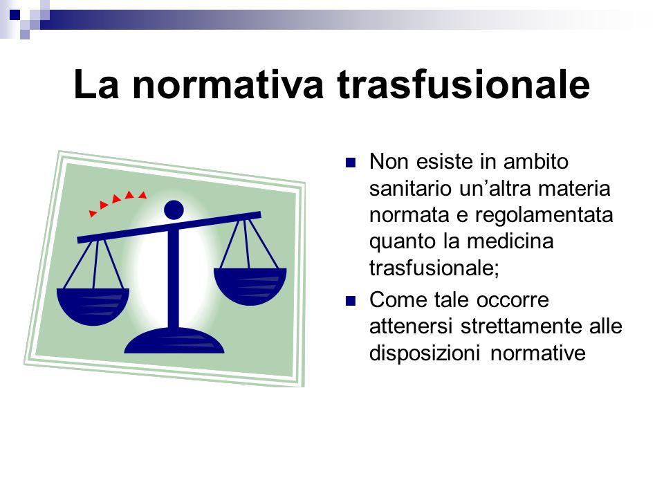 La normativa trasfusionale