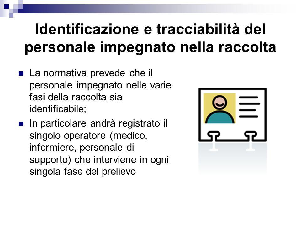 Identificazione e tracciabilità del personale impegnato nella raccolta