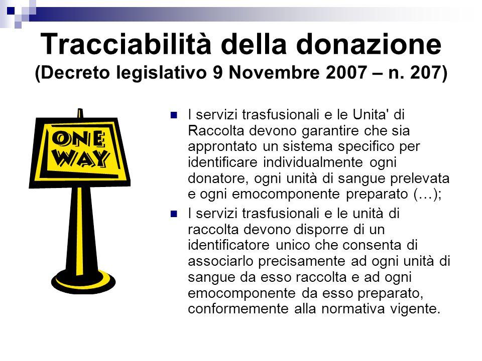 Tracciabilità della donazione (Decreto legislativo 9 Novembre 2007 – n