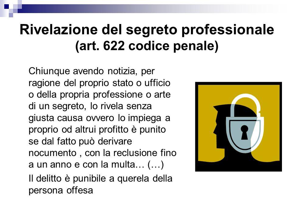 Rivelazione del segreto professionale (art. 622 codice penale)
