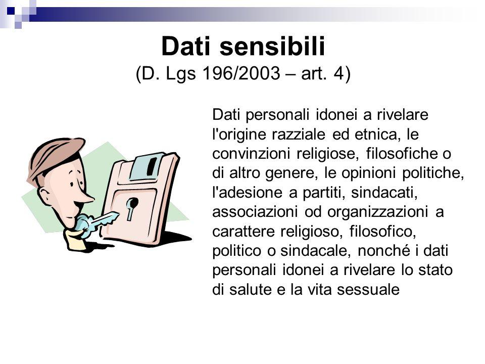 Dati sensibili (D. Lgs 196/2003 – art. 4)