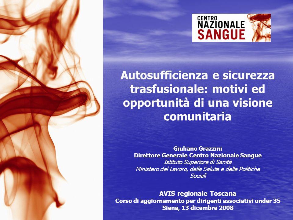 Autosufficienza e sicurezza trasfusionale: motivi ed opportunità di una visione comunitaria