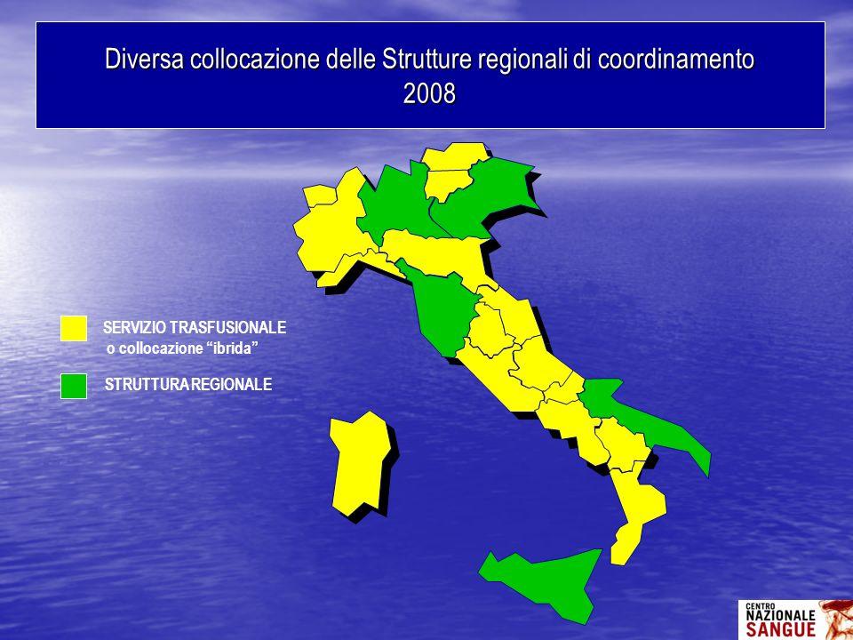 Diversa collocazione delle Strutture regionali di coordinamento 2008