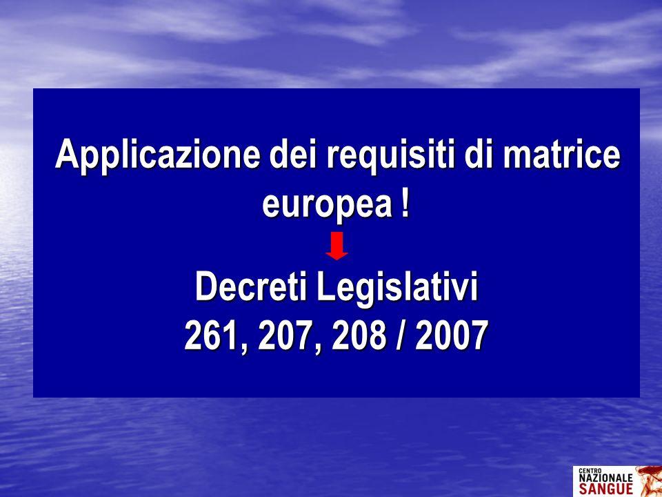 Applicazione dei requisiti di matrice europea