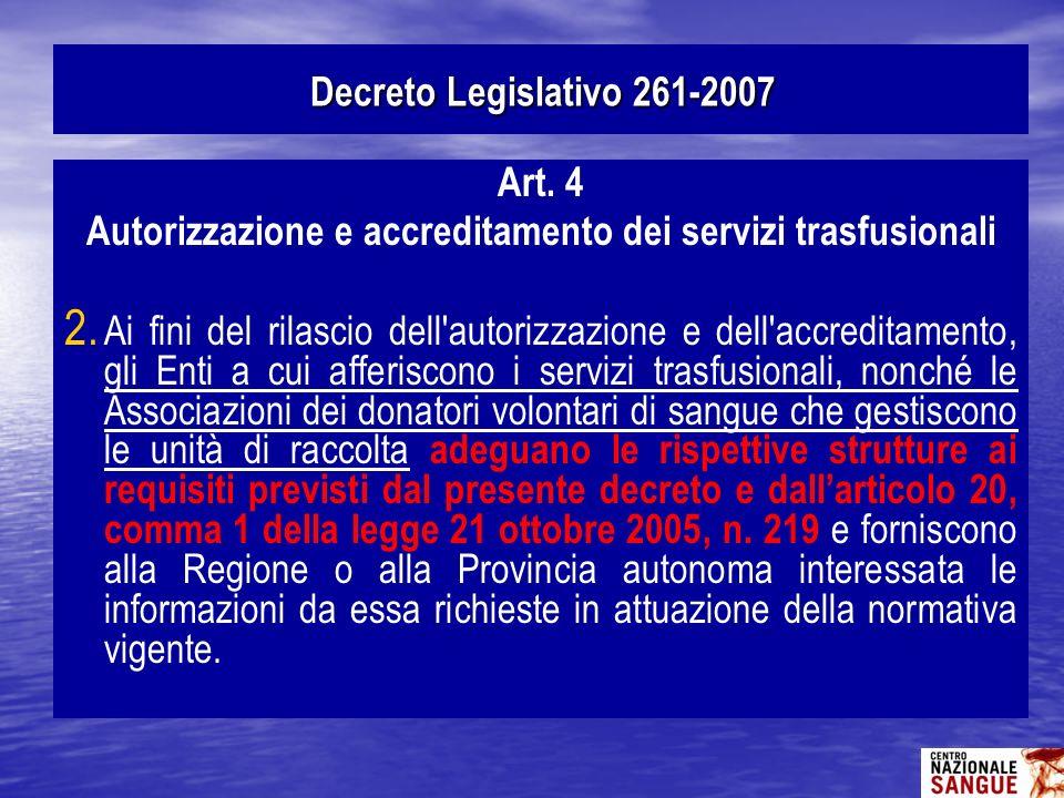 Autorizzazione e accreditamento dei servizi trasfusionali