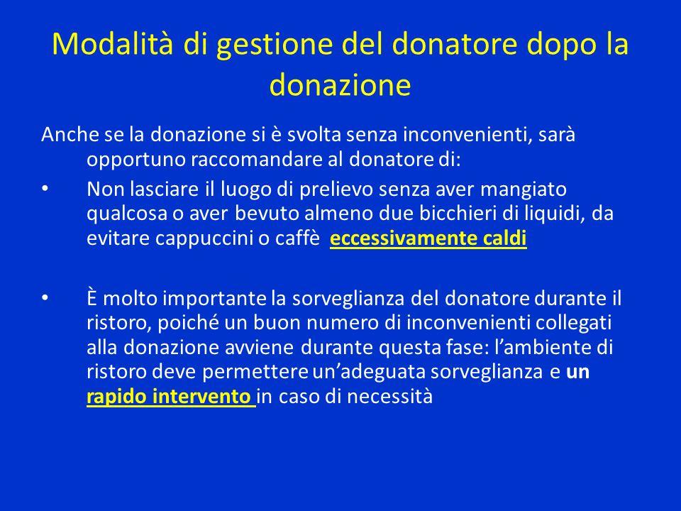 Modalità di gestione del donatore dopo la donazione