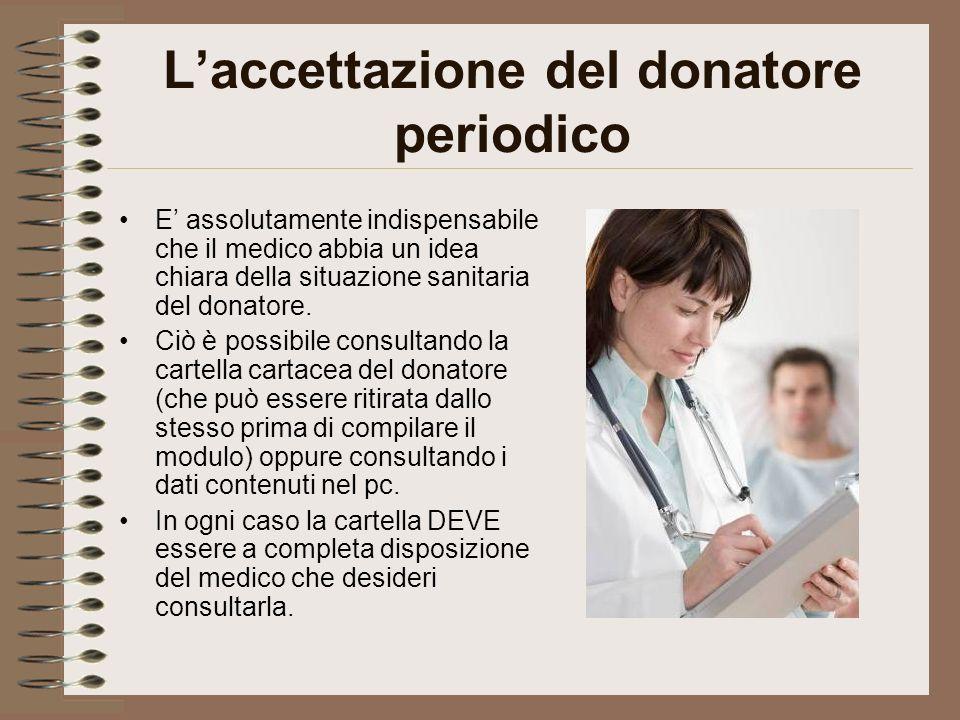 L'accettazione del donatore periodico