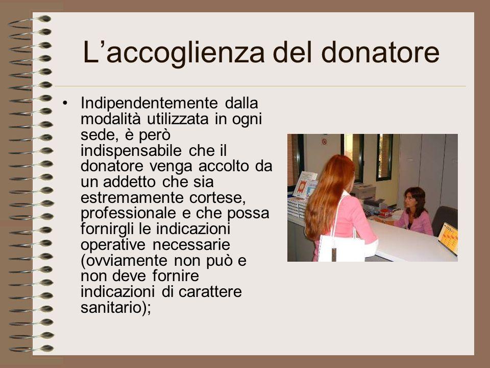 L'accoglienza del donatore