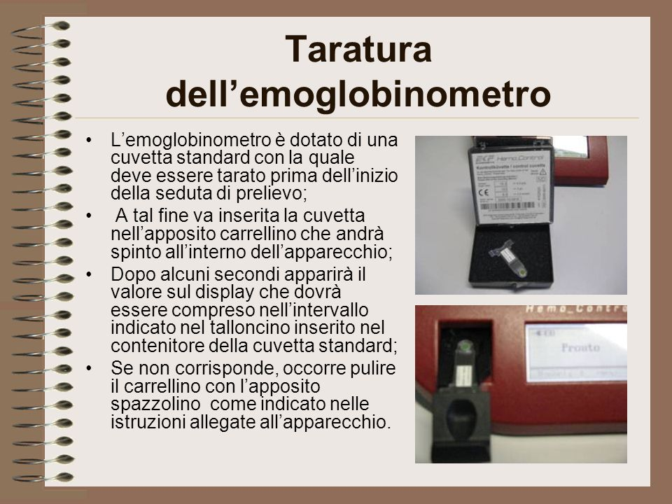 Taratura dell'emoglobinometro