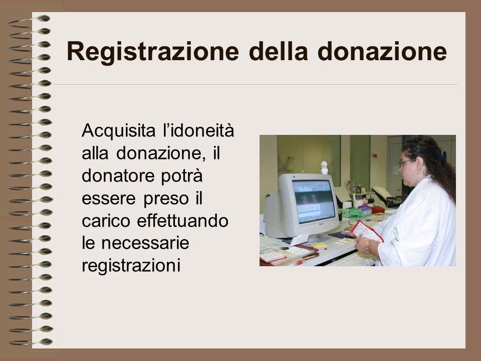 Registrazione della donazione