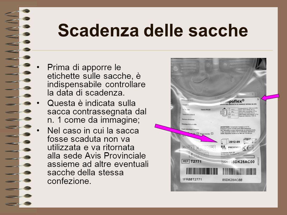 Scadenza delle sacche Prima di apporre le etichette sulle sacche, è indispensabile controllare la data di scadenza.