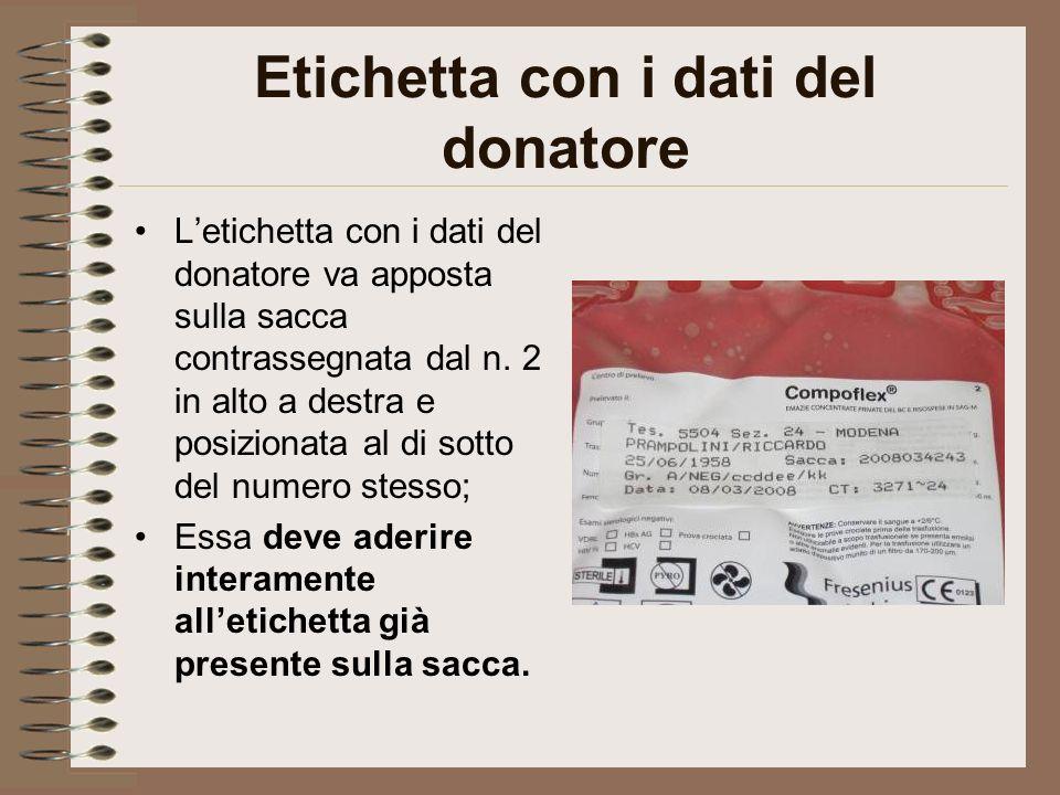 Etichetta con i dati del donatore