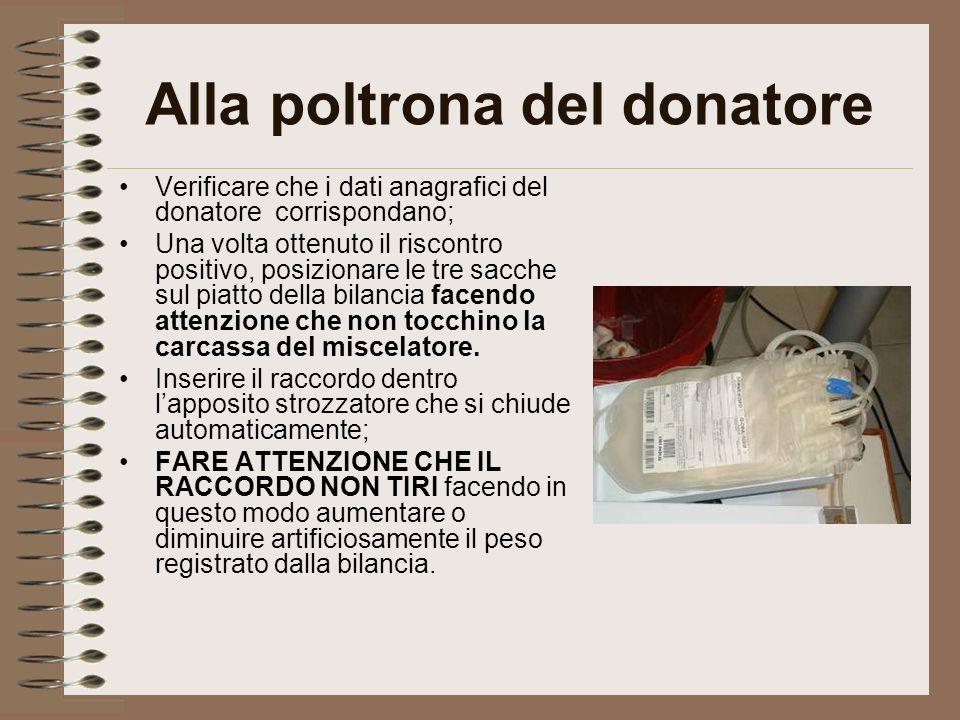 Alla poltrona del donatore