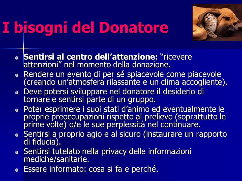 I bisogni del Donatore Sentirsi al centro dell'attenzione: ricevere attenzioni nel momento della donazione.