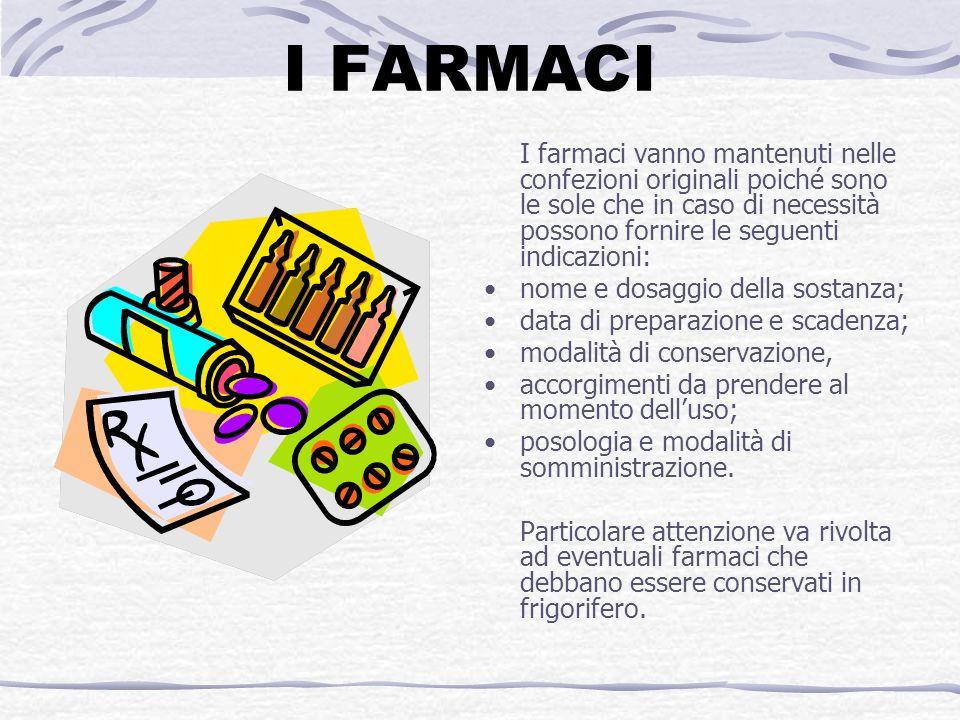 I FARMACI I farmaci vanno mantenuti nelle confezioni originali poiché sono le sole che in caso di necessità possono fornire le seguenti indicazioni: