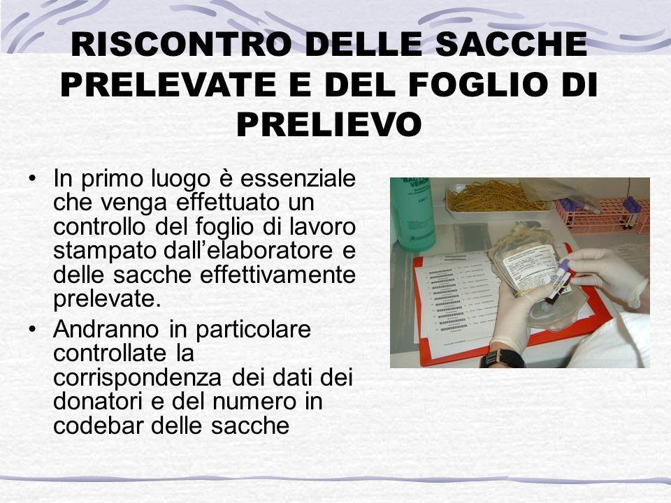 RISCONTRO DELLE SACCHE PRELEVATE E DEL FOGLIO DI PRELIEVO