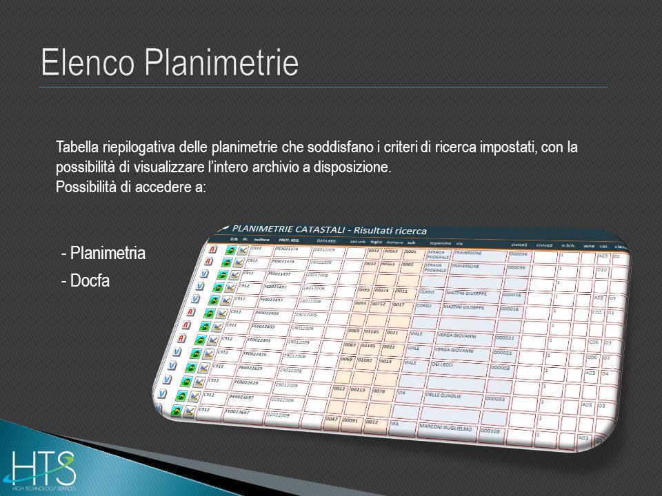 Elenco Planimetrie - Planimetria - Docfa
