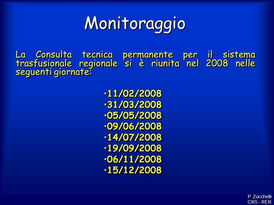 MonitoraggioLa Consulta tecnica permanente per il sistema trasfusionale regionale si è riunita nel 2008 nelle seguenti giornate: