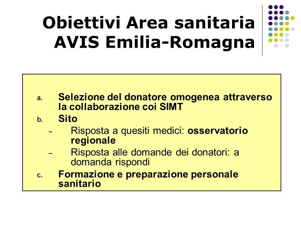 Obiettivi Area sanitaria AVIS Emilia-Romagna