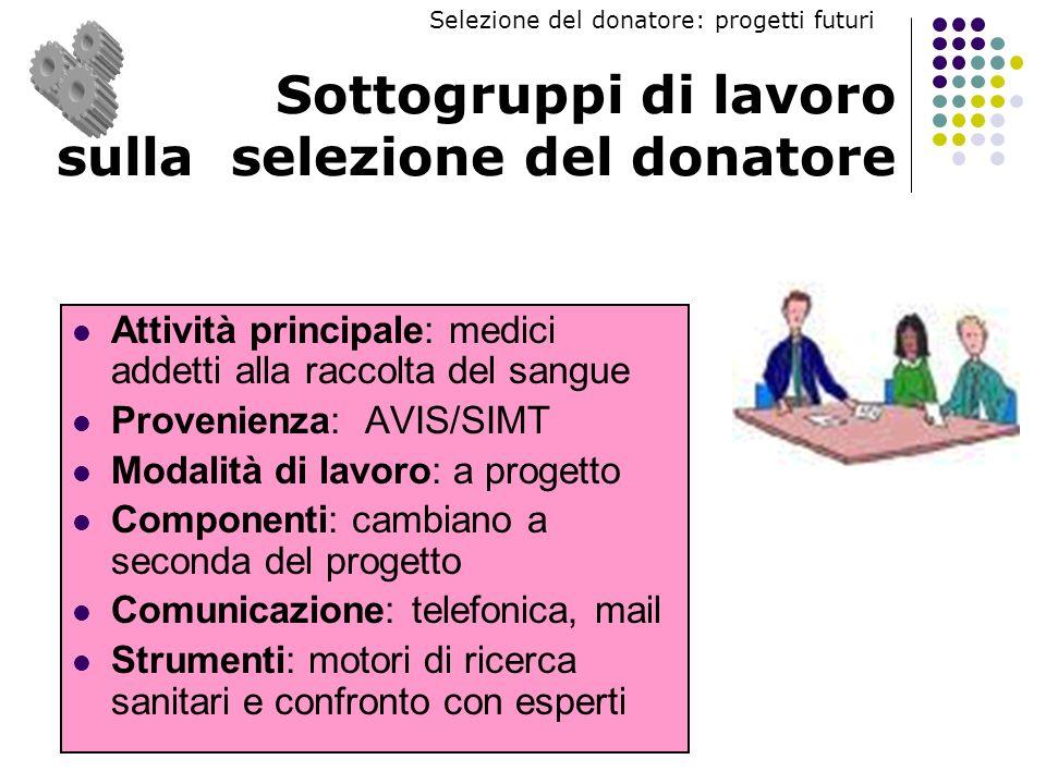 Sottogruppi di lavoro sulla selezione del donatore