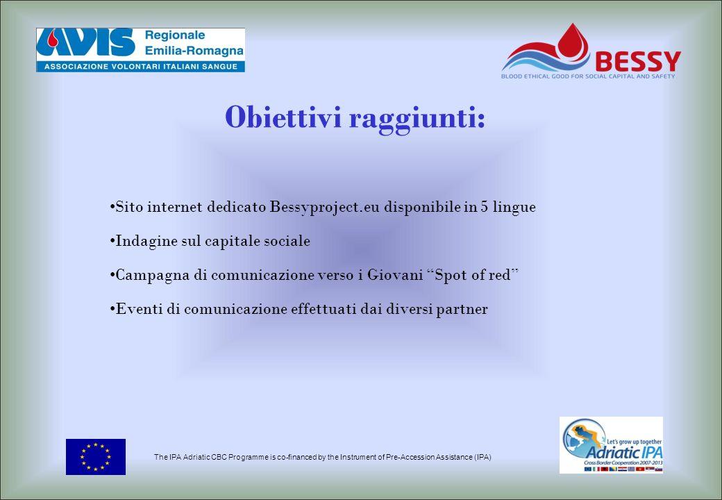 Obiettivi raggiunti: Sito internet dedicato Bessyproject.eu disponibile in 5 lingue. Indagine sul capitale sociale.