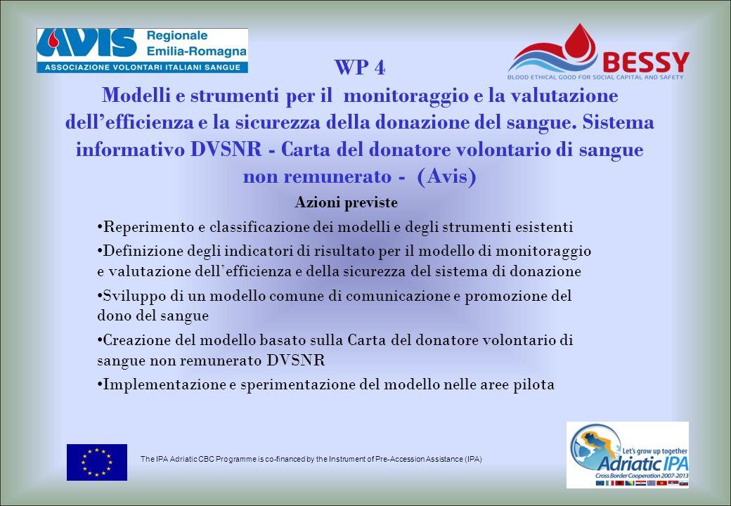 WP 4 Modelli e strumenti per il monitoraggio e la valutazione dell'efficienza e la sicurezza della donazione del sangue. Sistema informativo DVSNR - Carta del donatore volontario di sangue non remunerato - (Avis)