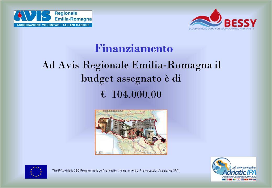 Ad Avis Regionale Emilia-Romagna il budget assegnato è di € 104.000,00