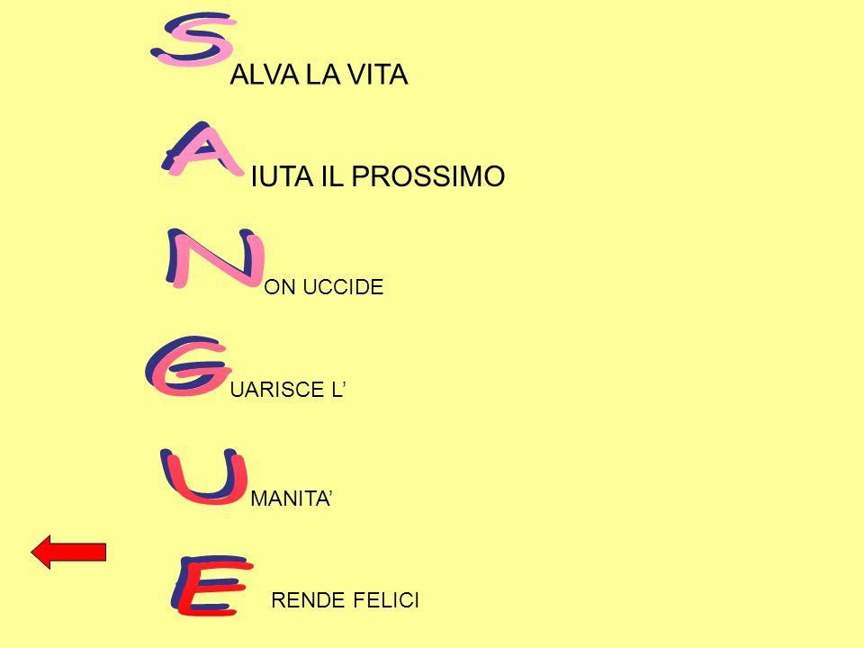 SANGUE ALVA LA VITA IUTA IL PROSSIMO ON UCCIDE UARISCE L' MANITA'