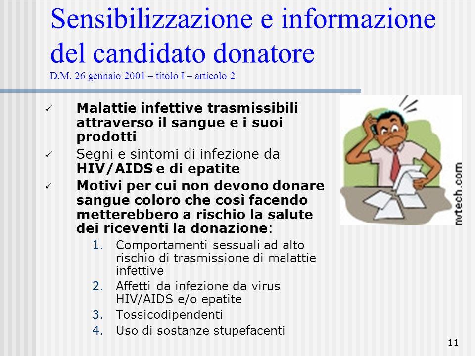 Sensibilizzazione e informazione del candidato donatore D. M