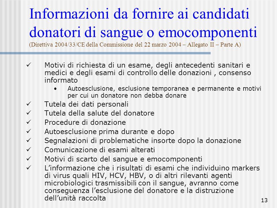 Informazioni da fornire ai candidati donatori di sangue o emocomponenti (Direttiva 2004/33/CE della Commissione del 22 marzo 2004 – Allegato II – Parte A)