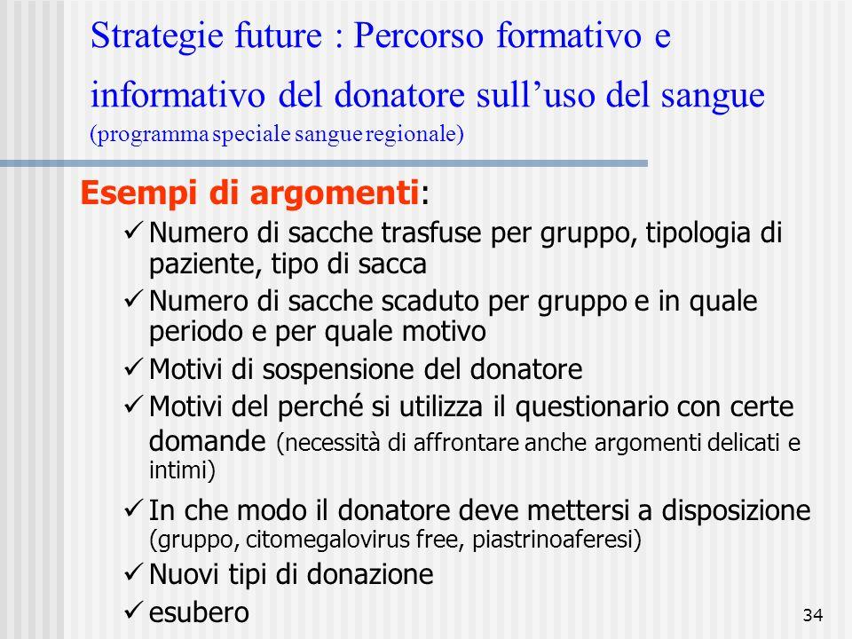 Strategie future : Percorso formativo e informativo del donatore sull'uso del sangue (programma speciale sangue regionale)