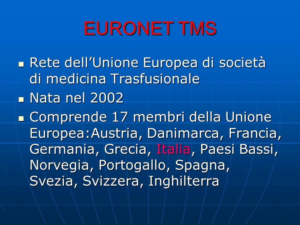 EURONET TMS Rete dell'Unione Europea di società di medicina Trasfusionale. Nata nel 2002.