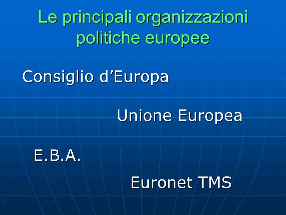 Le principali organizzazioni politiche europee