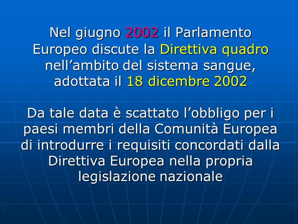 Nel giugno 2002 il Parlamento Europeo discute la Direttiva quadro nell'ambito del sistema sangue, adottata il 18 dicembre 2002 Da tale data è scattato l'obbligo per i paesi membri della Comunità Europea di introdurre i requisiti concordati dalla Direttiva Europea nella propria legislazione nazionale