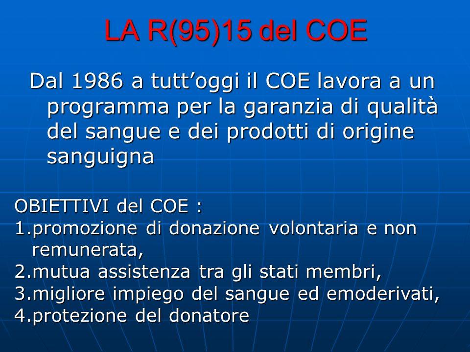 LA R(95)15 del COE Dal 1986 a tutt'oggi il COE lavora a un programma per la garanzia di qualità del sangue e dei prodotti di origine sanguigna.